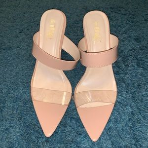 Nude high heel sandals with translucent panel